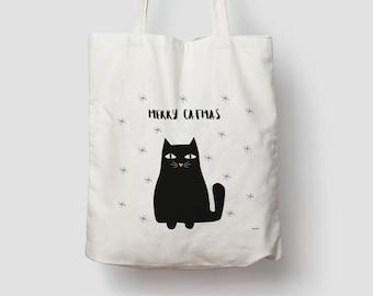 Catmas — Jute bag, cotton bag, shopping bag, jute, jute bag, carrying bag, fabric bag, bag, shoulder bag, Christmas, X-MAS
