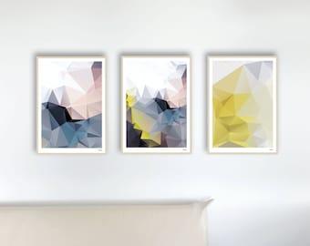 Set 8 Spring — Posters, Images, Art Prints, Abstract, Geometry, Illustration, Scandinavian, Design, Minimalist, Yellow, Blue, Pink, Grey