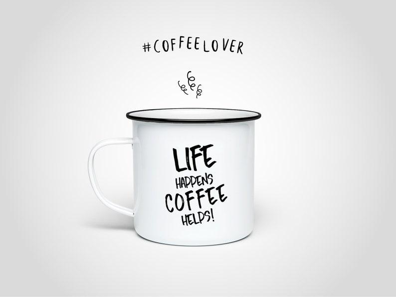 Coffee enamel mug/stainless steel cup outdoor mug gift tin image 0