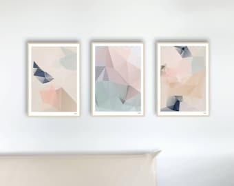 Set of 3 pastel — posters, images, art prints, abstract, geometry, illustration, Scandinavian, design, minimalist, pink, cream, blue