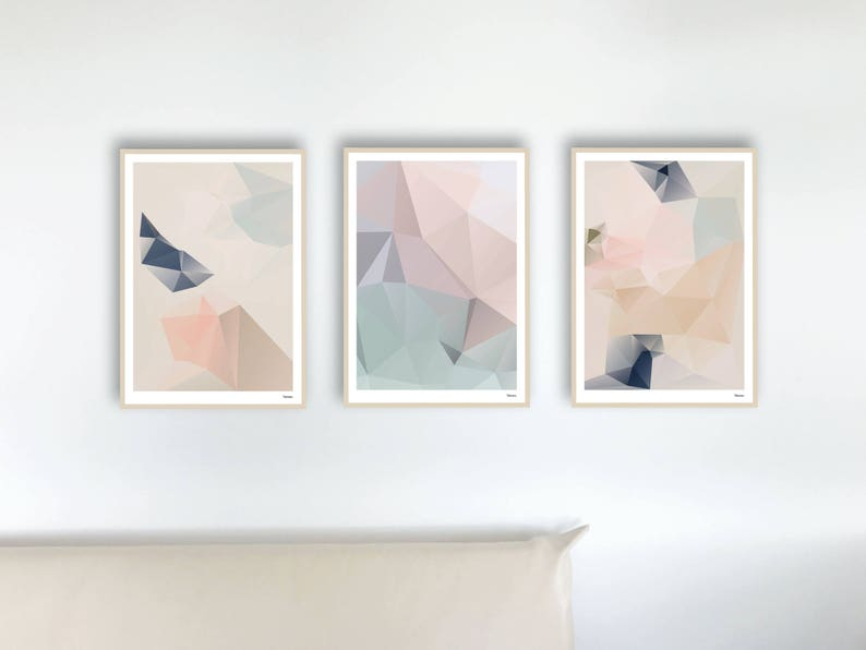 Set of 3 pastel / poster pictures art prints abstract image 0