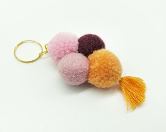 Felt ball N7 / keychain, closure band felt ball, key ring felt, key ring, moving gift Nepal felt, gift Christmas