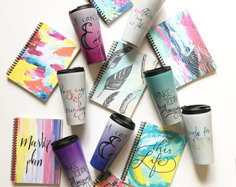 Build your own gift set, Travel Mug & Notebook, Stocking Stuffers, Secret Santa gifts, gifts for the office, desk accessories, teacher gift