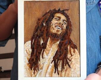 Bob Marley portrait in Italian artistic mosaic. Small mosaic Bob Marley music icon in glass mosaic on wood, Music gift idea.