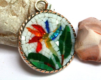 Sterlizia micro mosaic pendant, necklace with medallion and flower in colored glass mosaic, handmade in Italy.