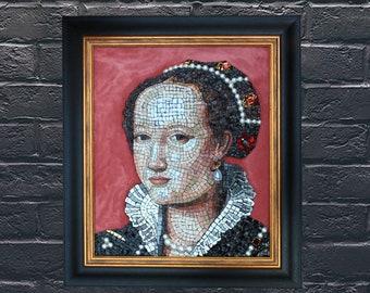 Isabella de Medici portrait in artistic mosaic wall art, handmade in Italy.