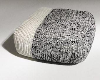 Handmade Knitted Floor Cushion | Grey & Cream | 70x70x30cm | Hand Knit Floor Pillow Pouf Ottoman Footstool