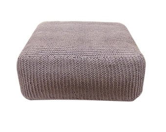 Handmade Knitted Floor Cushion | Ashes Of Roses | Hand Knit Floor Pillow Pouf Ottoman Footstool
