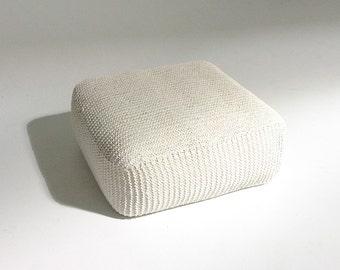 Handmade Knitted Floor Cushion | Cream | 70x70x30cm | Hand Knit Floor Pillow Pouf Ottoman Footstool