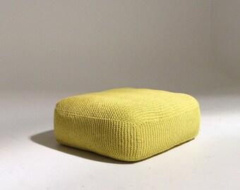 Handmade Knitted Floor Cushion | Custard (Yellow) | 70x70x30cm | Hand Knit Floor Pillow Pouf Ottoman Footstool