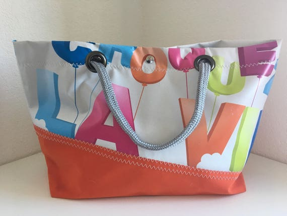 Tote Recycled Canvas Acrylic Painting Canvas Recycled Fabric Bag Recycling Upcycling Gift Idea Women Gift Beach Beach Bag Tote