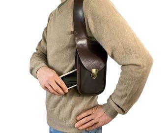 Leather holster bag DELUXE - Leather shoulder holster bag - leather shoulder - Hand Made in FRANCE