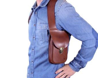 Leather shoulder holster bag / holster bag Made in FRANCE