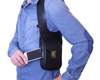 Leather holster bag DELUXE - Leather shoulder holster bag Made in FRANCE