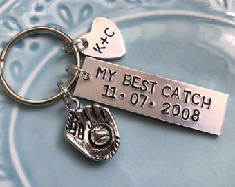 My Best Catch Baseball Keychain Anniversary Gift For Husband Wife Girlfriend Boyfriend Spouse Fan Mitt Initials