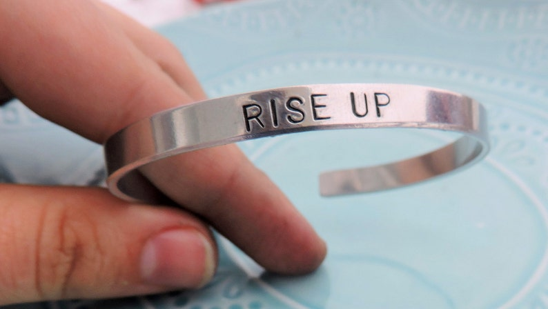 Rise up Inspiration Motivation Gift Alexander Hamilton Musical Inspired Star Gift Copper or Brass Cuff Bracelet Hand Stamped Aluminum
