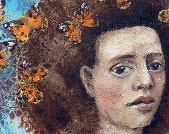 Whimsical art, original art, butterfly painting, oil painting, woman art, contemporary art, one of a kind art, butterfly art, small art
