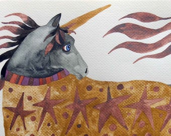 Whimsical art, original art, unicorn art, whimsical animal art, watercolor painting, one of a kind art, unicorn gift, kids room art, unicorn