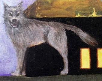 Whimsical art, original art, oil painting, contemporary art, dog art, whimsical animal art, year of the dog, wolf art, house art, symbolism