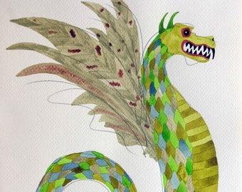 Dragon art, whimsical art, original art, watercolor, whimsical animal art, kids room art, green dragon, dragon painting, zodiac art