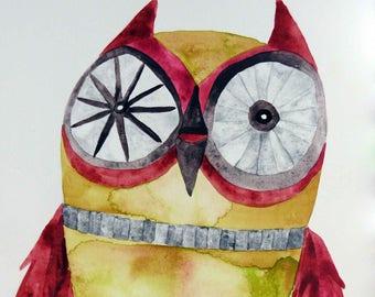 Whimsical art, owl art, original art, watercolor painting, whimsical animal art, whimsical bird art, kids room art, nursery art, owl decor