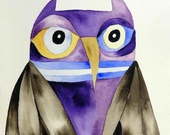 Owl art, whimsical art, original art, watercolor painting, kids room art, nursery art, whimsical bird art, owl decor, one of a kind art, art