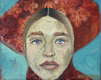 Whimsical art, woman art, original art, oil painting, colorful art, red hat painting, small painting, poetry painting, contemporary portrait