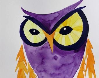 Whimsical art, original art, watercolor painting, nursery art, owl art, whimsical bird art, kids room art, owl decor, one of a kind art, owl