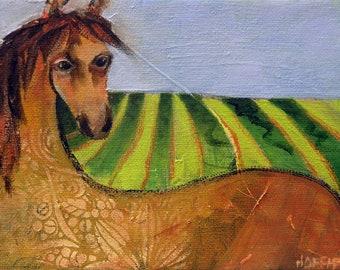 Whimsical animal art, original art, horse art, whimsical painting, small  painting, oil painting, one of a kind art, horse lover gift, horse