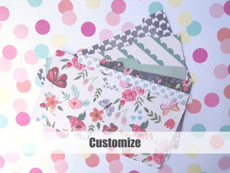 Wallet Budget Organizer Dividers  Set of 6 Dividers Dave Ramsey Cash envelope Budget System Butterfly Conservatory  MADE to ORDER CUSTOM