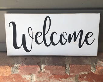 Welcome Wood Sign   Rustic Sign   Wooden Sign   Entryway Sign   Welcome Sign   Living Room Sign   Front Door Sign   Rustic Wood Sign
