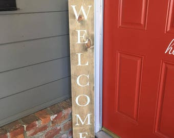 Welcome Vertical Sign | Wooden Signs | Porch Signs | Welcome Wood Sign | Entryway Sign | Rustic Wood Sign | Home Decor | Living Room Sign