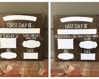 Last Day Of School Sign | First Day Of School Sign | Photo Prop | Wooden Sign | Reusable Wood Sign