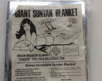 "Giant Suntan Blanket, ""ByProduct of NASA Research,"" Moon Mission Blanket, Retro, Reflecting Blanket, Emergency Blanket"
