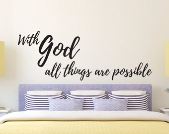 With God All Things Are Possible Vinyl Wall Decal Quote Religious Decor Christian Calligraphy Bible Verse Scripture Luke Stickers