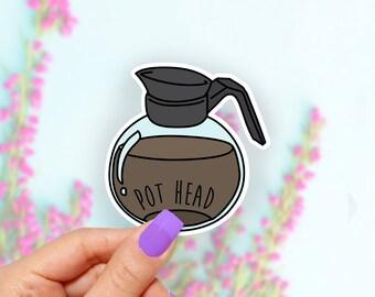Coffee Pot Head Funny Sticker, Vinyl Stickers, Cute Stickers,  Laptop Sticker