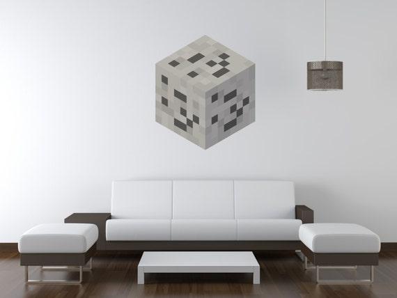 blocky coal ore block vinyl wall decal | etsy