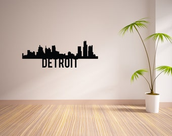 24 Inch Detroit City Skyline Vinyl Wall Decal