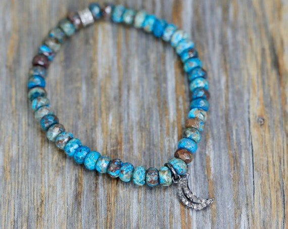 Diamond Moon Stretch Bracelet Turquoise Blue Jasper- Celestial Jewelry- Gift For Her