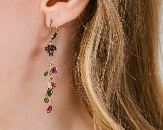 Watermelon Tourmaline Diamond Gemstone Cascade Earrings- Women's Jewelry* Gift Idea for Her* Genuine Tourmaline