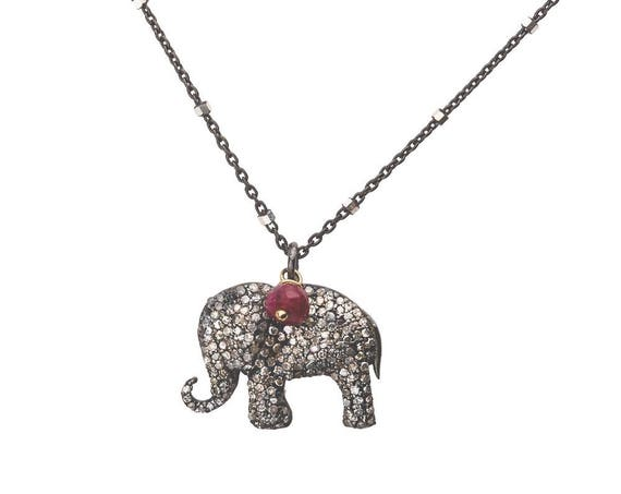 Diamond Elephant Pendant Necklace* Oxidized Sterling Silver*Gift Idea for Her*Genuine Diamond Gemstone Necklace*Good Luck