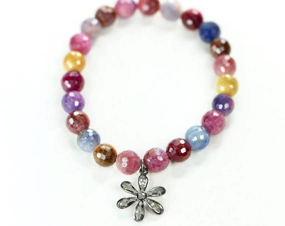 Rainbow Gemstone bracelet Mother's Day Gift For Her pink sapphire multi color sapphire Women's Gift diamond flower bracelet beaded bracelet