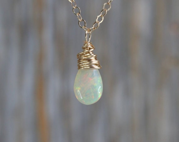 Opal Necklace Natural Opal Gemstone Teardrop Pendant solitaire Necklace Ethiopian opal drop necklace Gift for Her October birthstone Gold