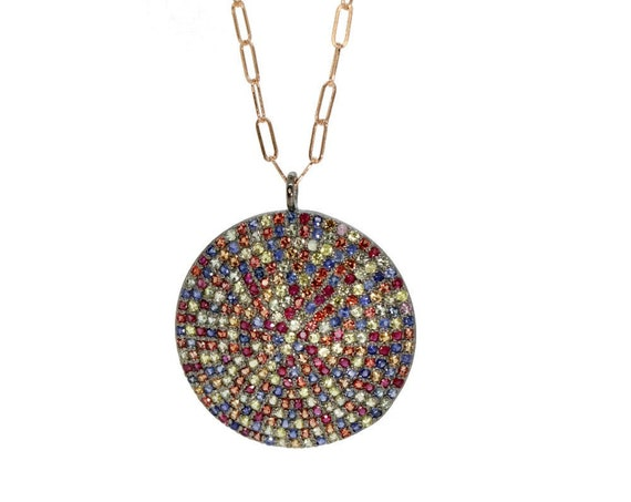 Pave Sapphire Disc Necklace- Genuine Multi Color Sapphires* oxidized Sterling Silver* 14k ROSE Gold Filled* Gift For Her* Exquisite Quality