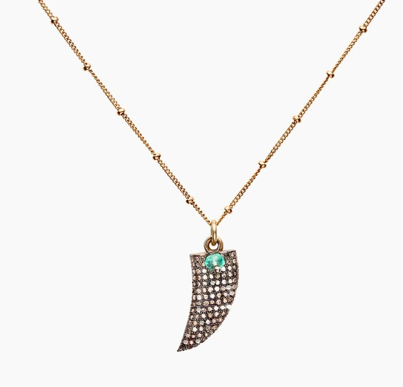 DIAMOND HORN NECKLACE pave diamond oxidized sterling silver mixed metal birthstone necklace boho gift for her emerald gemstone
