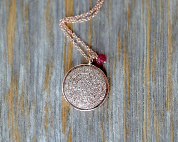 14k Rose Gold Pave Diamond Disc Necklace - white diamonds (.34cts)- Gift Idea for Her- Mother's Day April Birthstone