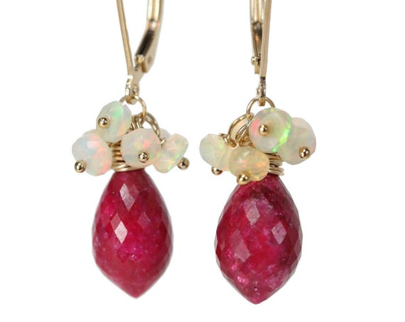 White Opal and Ruby Gemstone Cluster Earrings