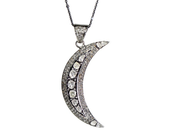 Large Diamond Moon Necklace Rose Cut and Pave Diamonds- Gift Idea for Her-Women's Jewelry- Graduation