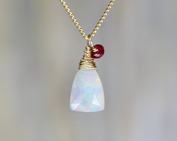 Dainty Small Opal Necklace *Natural Opal and Ruby Gemstone Teardrop Pendant Necklace*October Birthstone*14k gold filled* Gift for Her
