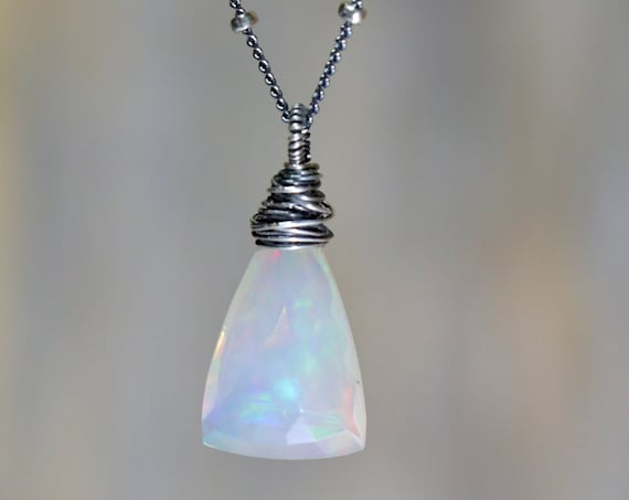 Opal Necklace *Natural Opal Gemstone Teardrop Pendant Necklace* Ethiopian Opal Triangle Cut* October Birthstone*Oxidized Sterling Silver
